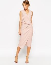 Платье миди с запахом и драпировкой ASOS WEDDING - Красный