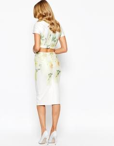Платье-футляр с крупным цветочным принтом True Violet