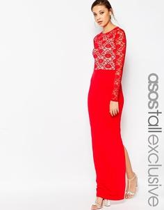 ASOS TALL Soft Lace Top Maxi Dress - Красный