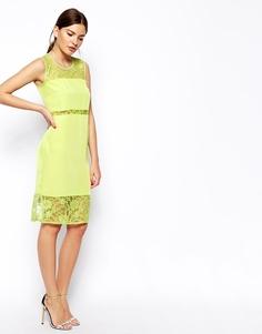 Платье миди с кружевными вставками ASOS - Лайм