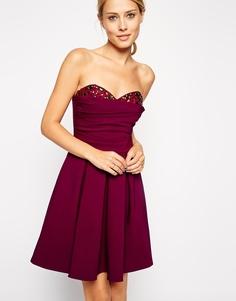 Декорированное платье-бандо ASOS - Темно-бордовый