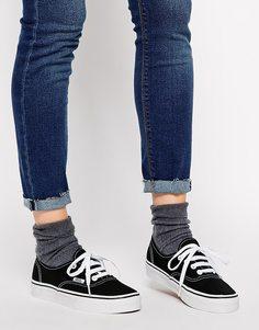 Классические черно-белые кроссовки на шнуровке Vans Authentic - Черный