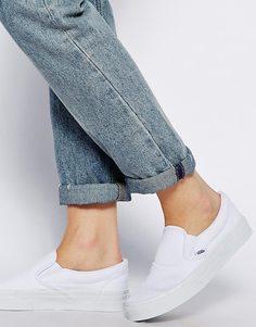 Белые классические кроссовки-слипоны Vans - Белый