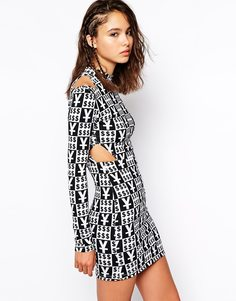 Облегающее платье с высоким воротом и вырезами This Is A Love Song