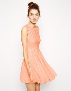 Короткое платье с отделкой пайетками ASOS - Телесный