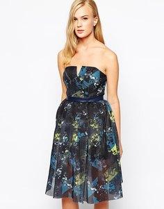 Платье без бретелек из сетки с принтом Three Floor In Motion - Мульти