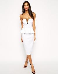 Платье-футляр с глубоким вырезом и золотистой планкой ASOS