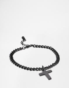 Черный браслет с крестиком ASOS - Черный