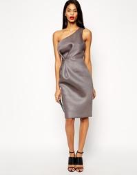 Сетчатое платье-футляр на одно плечо ASOS Premium - Серый