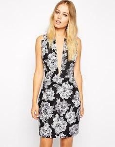 Платье с принтом и глубоким вырезом Stylestalker American Beauty
