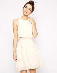 Короткое приталенное платье с плотными и прозрачными вставками ASOS