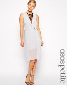 Платье миди с драпировкой и кружевной вставкой ASOS PETITE - Серый