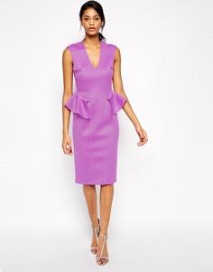 Платье миди с баской ASOS - Сиреневый