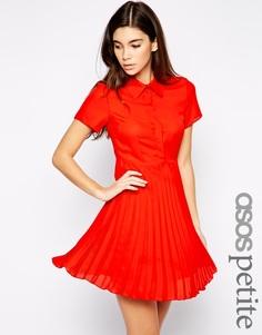 Платье-рубашка с плиссированной юбкой эксклюзивно для ASOS PETITE