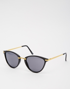 Овальные солнцезащитные очки кошачий глаз с металлической переносицей