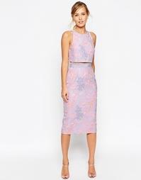 Платье-футляр с укороченным топом и цветочной вышивкой ASOS SALON