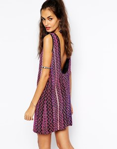 Цельнокройное платье с гобеленовыми полосками Mochi - Фиолетовый