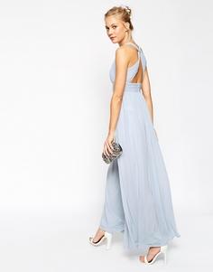 Платье макси с перекрученной спинкой ASOS WEDDING - Телесный