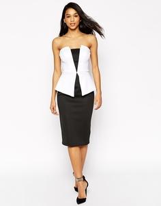 Черно-белое платье миди с баской ASOS Premium - Черно-белый