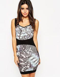 Облегающее трикотажное платье с принтом ASOS - Мульти