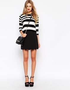 Мини юбка‑трапеция с фигурным краем ASOS - Черный