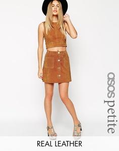 Замшевая юбка-трапеция на пуговицах ASOS PETITE - Рыжий