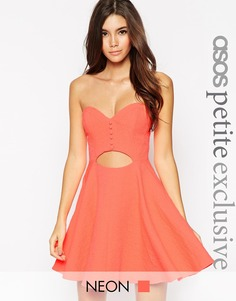 Жаккардовое платье мини с вырезом ASOS PETITE - Розовый