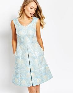 Жаккардовое платье дебютантки с узором в стиле барокко Tahari