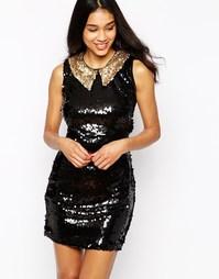 Платье с открытой спинкой и отделкой пайетками Rare - Черный