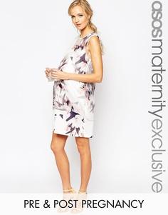 Цельнокройное платье для беременных с накладкой из цветочной органзы A