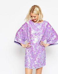 Платье-кимоно мини с отделкой пайетками ASOS - Сиреневый