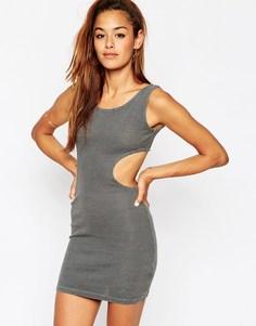 Облегающее мраморное платье в рубчик c вырезами по бокам ASOS - Серый