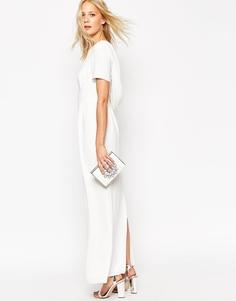 Крепдешиновое платье макси с драпировкой сзади ASOS - Белый
