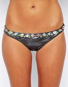 Бразильские плавки бикини с отделкой камнями ASOS - Серебряный