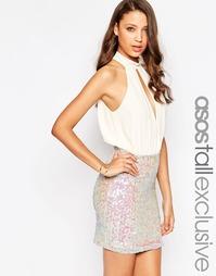 Платье мини с пайетками и глубоким вырезом ASOS TALL