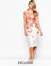 Платье-футляр с цветочным принтом True Violet - Красный с цветами