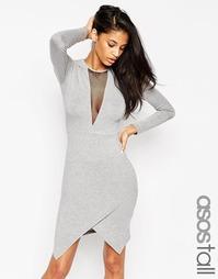Облегающее асимметричное платье мини ASOS TALL - Серый