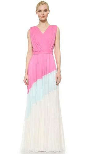 Плиссированное вечернее платье с цветными блоками