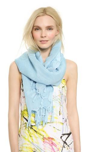 Льняной шарф с кисточками с узлами