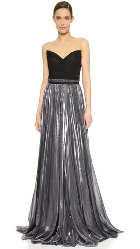 Комбинированное плиссированное вечернее платье