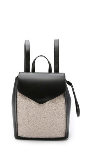 Миниатюрный рюкзак с отделкой из короткой шерсти
