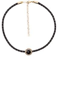 Плетенный чокер с полудрагоценным круглым камнем - Jacquie Aiche