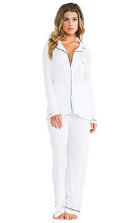 Organic cotton piped pajama set - Only Hearts