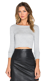 Укороченный топ cropped boatneck long sleeve top - Lanston
