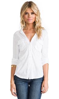 Рубашка slub с застёжкой на пуговицах и боковыми вставками - James Perse