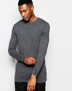 ASOS Longline Jumper with Contrast Panel - Угольный