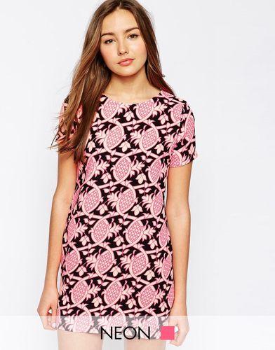 Цельнокройное платье с принтом ананасов AX Paris - Розовый