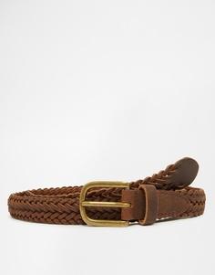 Коричневый кожаный плетеный ремень ASOS - Коричневый