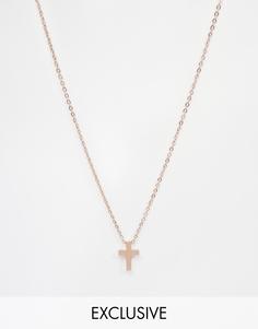 Ожерелье с крестом Reclaimed Vintage - Розовое золото