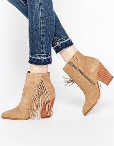 Замшевые ботинки на каблуке с бахромой ALDO Linsey - Серо-коричневый